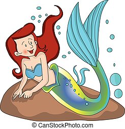 Vector of mermaid undersea. - Vector illustration of mermaid...