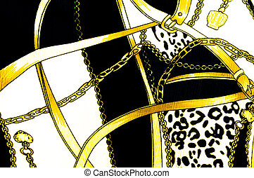 Gold chain looped heart pattern.For art texture or web design and background.