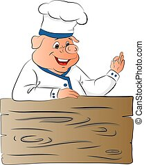 Vector of pig chef giving ok gesture.