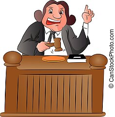 Vector of judge with gavel. - Vector illustration of judge...