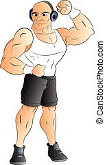 Vector of muscular man listening to music on headphones. -...