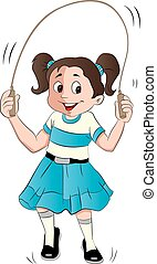Vector of girl skipping - Vector illustration of happy...