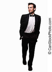 Man in tuxedo stepping out - Full body of an attractive...