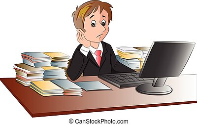 Vector of unhappy businessman's desk invaded with documents.