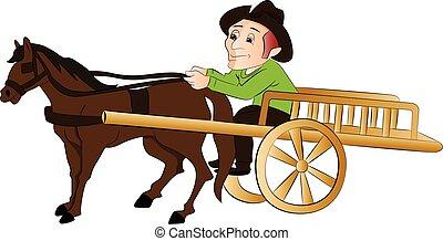 vector, hombre, Viajar, caballo, dibujado, carrito