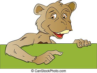 Vector of monkey pointing at blank banner.