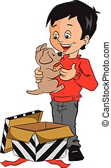Vector of surprised boy holding toy - Vector illustration of...