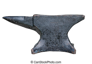 Old anvil on white background - rusty black anvil isolated...