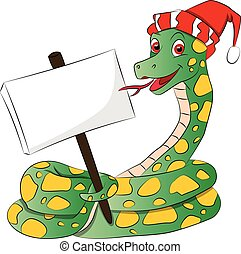Vector illustration of a snake wearing santa hat and holding a blank signboard.