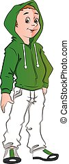 Vector of teen boy wearing hooded jacket. - Vector...