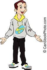 Vector of happy teen boy gesturing.