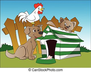 Vector of dog, squirrel and hen with a bone in foreground.