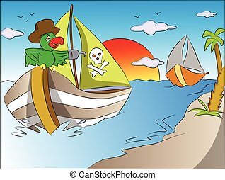 Vector of parrot on pirate's boat.