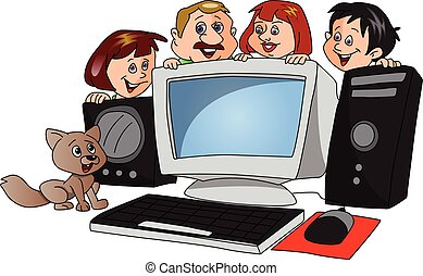 Vector of happy family with a newly purchased computer.