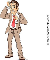 Vector of worried businessman. - Vector illustration of...