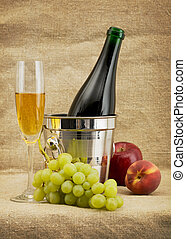 Still life with champagne bottle, goblet and fruits - Still...