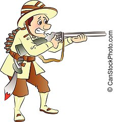 Vector of armed soldier aiming with gun.