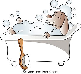 Vector of dog in bathtub - Vector illustration of dog taking...