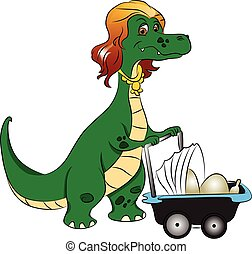 Vector of mother dinosaur pushing stroller with eggs in it.