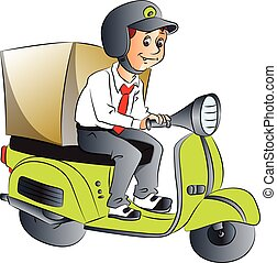 Vector of delivery boy on scooter. - Vector illustration of...