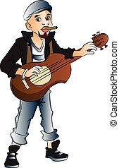 Vector of rockstar playing guitar and smoking cigarette. -...