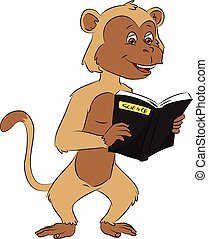 Vector of monkey reading science book.