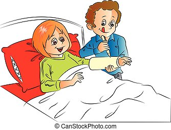 Vector of man writing on wife's plaster cast, relaxing on bed.