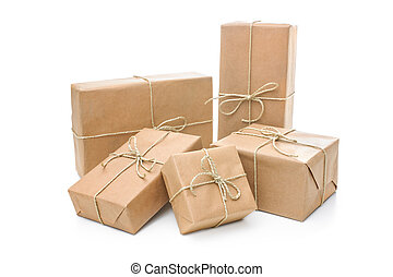 Parcels wrapped with brown paper - Group of parcels wrapped...