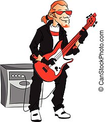 Vector of man playing electric guitar.