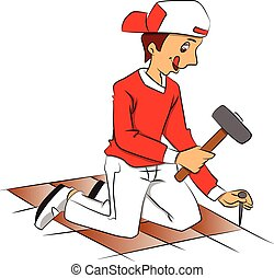 Vector of repairman hammering nail to remove tiled floor.