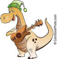 Vector of dinosaur playing guitar.