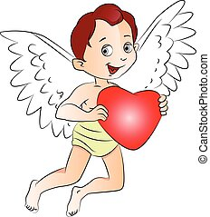 Vector of fairyboy holding a red heart - Vector illustration...