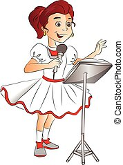Vector of happy girl singing on mike. - Vector of happy girl...