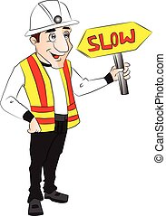 Vector of construction worker holding slow sign. - Vector...