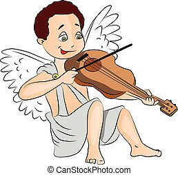 Vector of fairy boy playing violin.