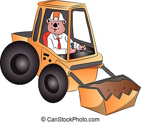 Vector of excavator. - Vector illustration of a man driving...