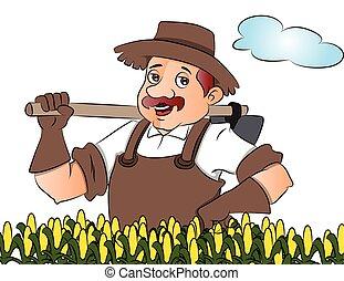 Vector of gardener with a shovel.