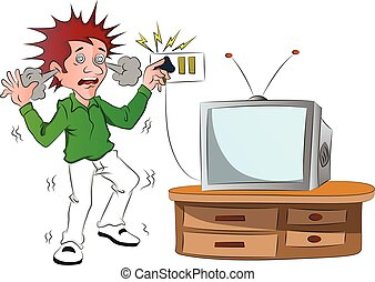 Vector of boy receiving an electric shock after short...