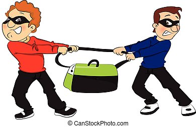 Vector of two thieves pulling bag in opposite direction. -...