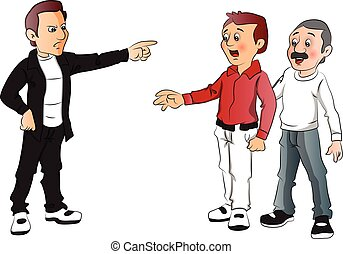 Vector of man blaming his rivals - Vector illustration of...