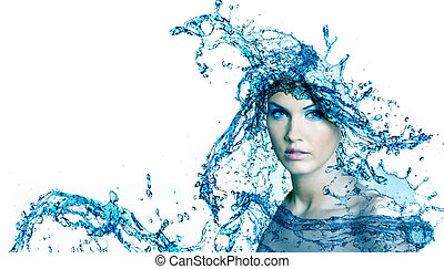 Beautiful woman with water - Beautiful woman face with water...