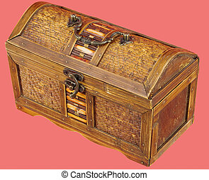 Chest - Wooden chest with iron handles on the red background