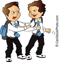 Vector of schoolboys fighting - Vector illustration of angry...