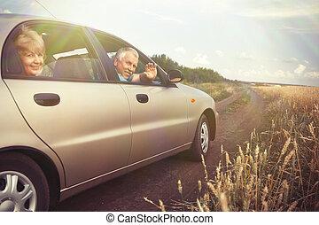 Two elderly people in car in field