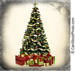 Christmas Tree and Gifts Over grey vintage background