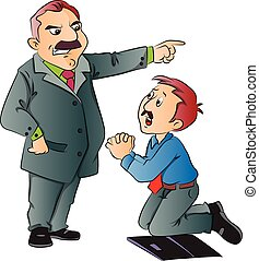 Vector of junior executive begging for work - Vector...