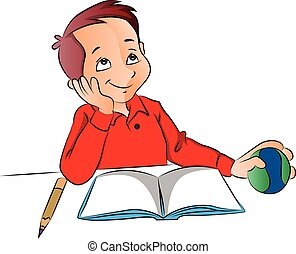 Vector of boy dreaming with ball, book and pencil on desk. -...