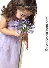 niña, Oler, beutiful, flor