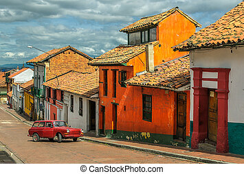 La Candelaria, historic neighborhood in downtown Bogota,...