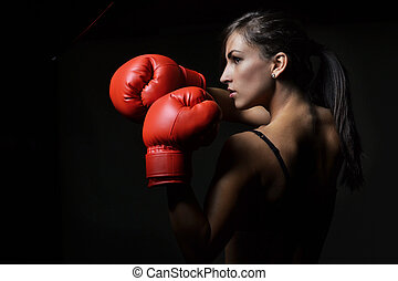 hermoso, mujer, boxeo